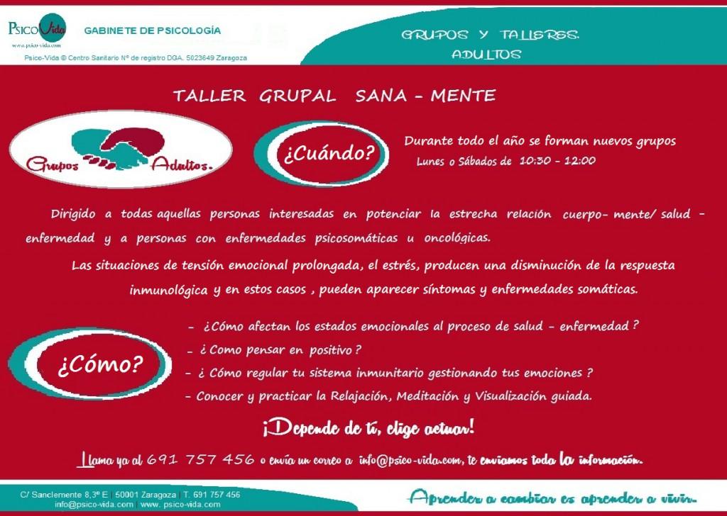 Taller Sana - Mente. 2015. Psico-Vida. Zaragoza