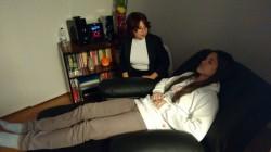 Momentos previos a la sesión de relajación con Lisbet Rodríguez. Foto Víctor Tomás Moliner