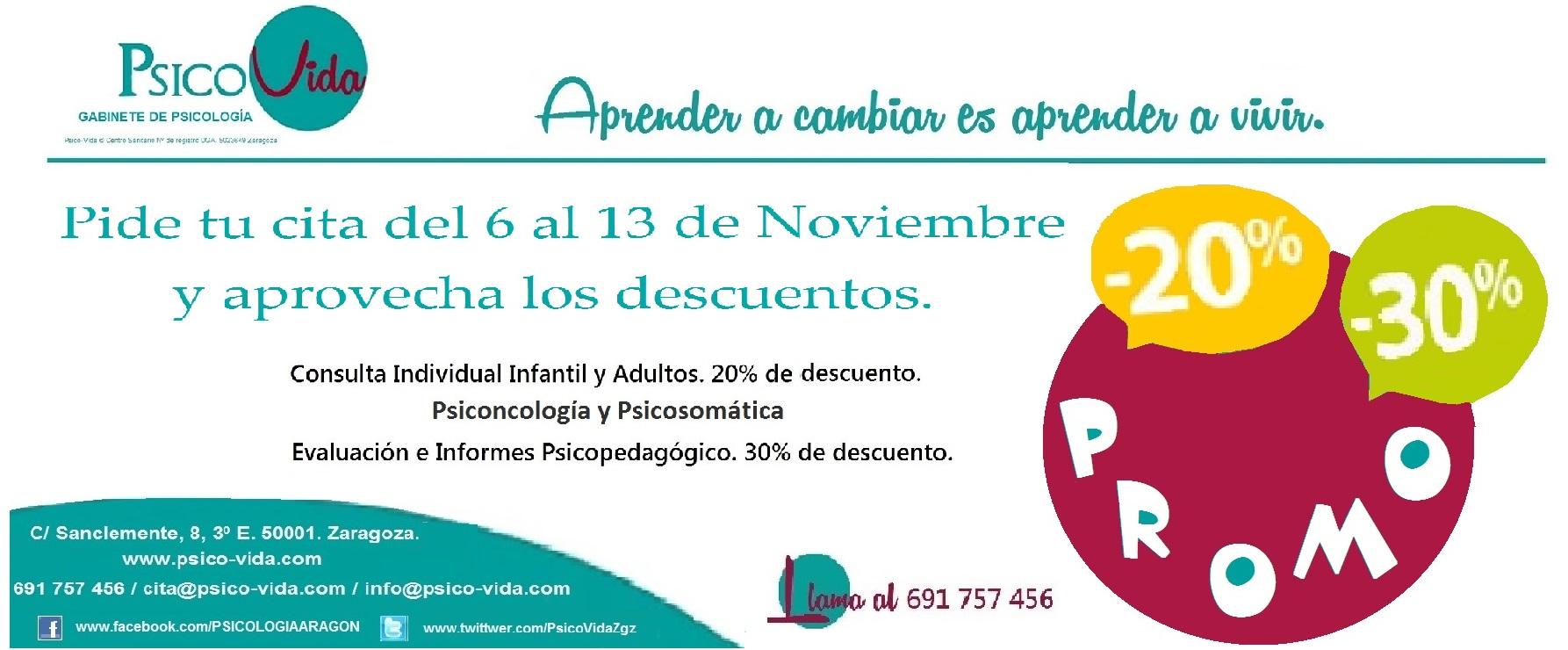 Ofertas Psicología. Solo esta semana Gabinete de Psicología Psico-Vida. Zaragoza.